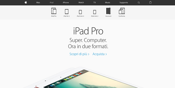 Apple iPad landing Page