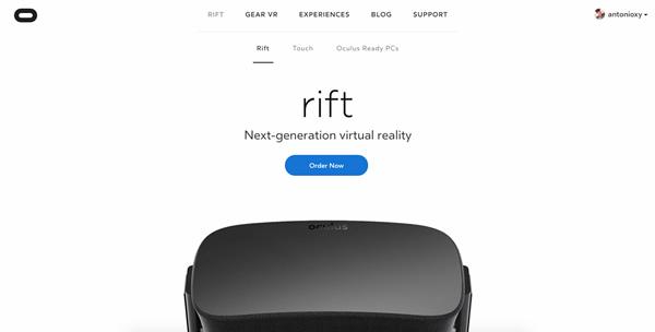 Oculus Rift Landing Page